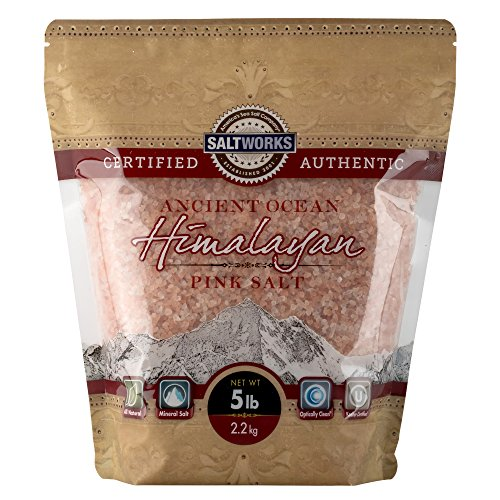 SaltWorks Ancient Ocean Himalayan Pink Salt, Medium Grain, 5 Pound Bulk Bag, White and Pink to Dark Red, 80 Ounce