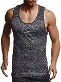 Leif Nelson Sport Canotta per Uomo Camicia Fitness Maschile da allenare LN-8308 Negro Reflect Small
