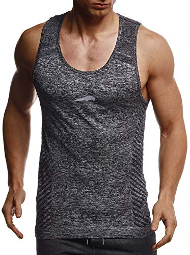 Leif Nelson Gym Herren Seamless Fitness Sport-Shirt ohne Ärmel Top Trainingsshirt Slim Fit Männer Bodybuilder Training Funktionsshirt Bekleidung für Bodybuilding LN8308 Schwarz-Reflekt Large