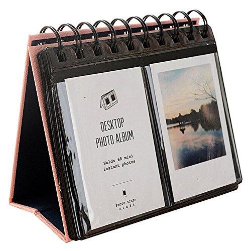 Urvoix 68 Mini-Schreibtisch-Foto-Album für Fujifilm Instax Mini 8 7S 25 50s 90 Filme, Visitenkarten-Format (Rosa)