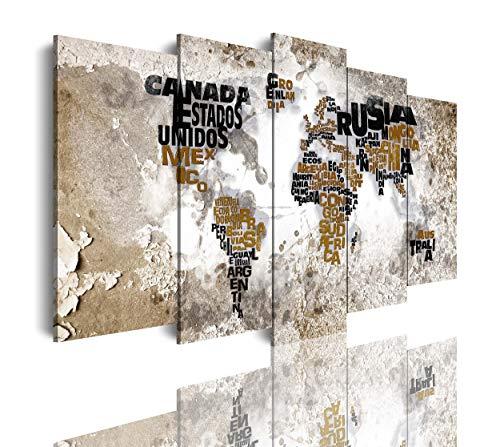DekoArte 448 - Cuadros Modernos Impresión de Imagen Artística Digitalizada | Lienzo Decorativo para Tu Salón o Dormitorio | Estilo Mapamundi Mapa del Mundo con Nombres de Países | 5 Piezas 150x80cm