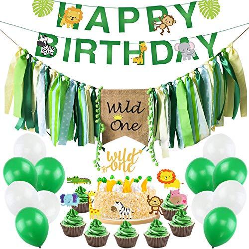 Wild One Birthday Decorations Kit, Wild One Kids First Birthday Party Decorations Supplies, Wild One Highchair Banner, Animal Birthday Banner, Baby Girl Boy 1st Bday Party Supplies with Wild One Anima