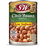 S & W • Canned Low Sodium Chili Beans (12 Pack), Vegetarian, Non-GMO, Natural Gluten-Free Pinto Bean, Sourced and Packaged in the USA, 15 Ounce Can