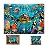 3D LiveLife Lenticular Cuadros Decoración - Burbujitas de Deluxebase. Poster 3D sin marco de tortuga marina. Obra de arte original con licencia del reconocido artista, Steve Sundram
