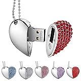 Garrulax Cle USB, Premium imperméable clé USB2.0, 8Go / 16 Go / 32Go Cles USB Type de Coeur Diamant Stockage de données Haute...