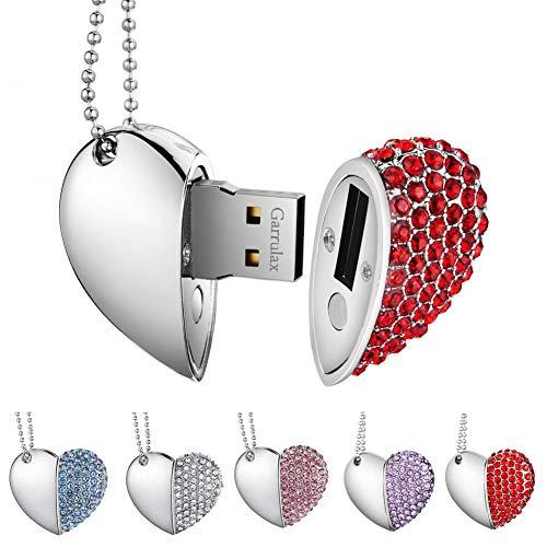 Garrulax Pendrive, USB Chiavette 8GB / 16GB / 32GB Premium Impermeabile Cuore Diamante ad alta velocità USB 2.0 dati, unità di memoria Flash Penna Disk Pen Drive