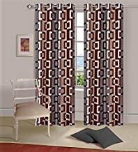 Exporthub Brown Eyelet Door Curtains Set of 2 Pc 7x4 Feet,