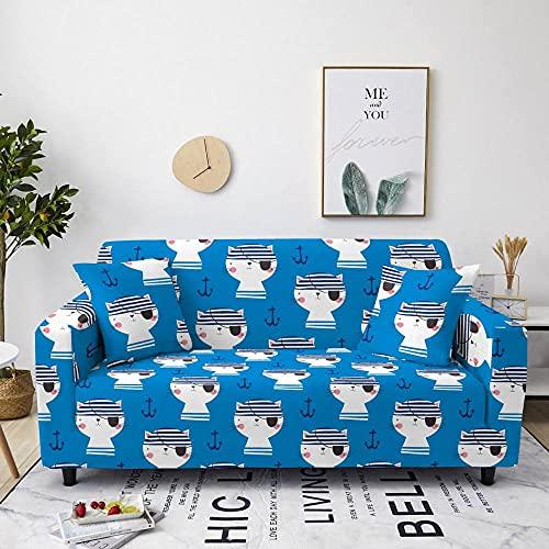 AHKGGM Funda de sofá Estampada Gato Animal Azul y Blanco 4 plazas: 235-300cm