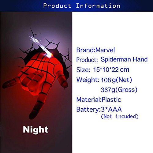 『3D Deco Light/3D 壁掛け専用デコレーションライト スパイダーマン ハンド』の1枚目の画像