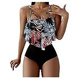 Maillot De Bain à Volant Femme 2 Pieces Sexy Push Up Taille Haute Ventre Plat Bikini Chic Imprimé...