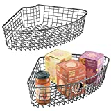 mDesign Farmhouse Metal Kitchen Cabinet Lazy Susan Storage Organizer Basket with Front Handle - Medium Pie-Shaped 1/4 Wedge, Container, 2 Pack - Graphite Gray