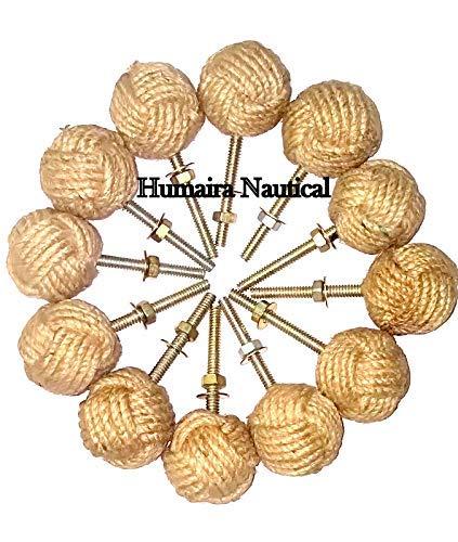 alfiya nautical store 12 pomos de Puerta de Nudo – Tiradores de cajón náutico – Tiradores de cajón de Cuerda de Yute