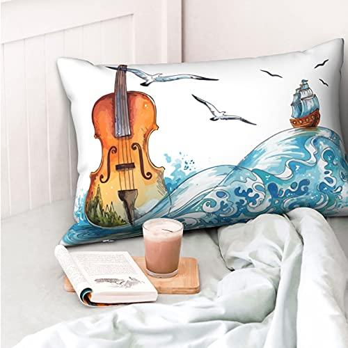 VVSADEB Funda de almohada para violín de pintura de acuarela, 50 x 70 cm, funda de almohada con cremallera, suave y acogedor, arrugas, tamaño estándar, 1 paquete