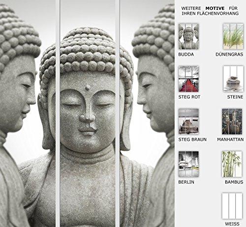 EFIXS 3er Set Flächenvorhang - Motiv Budda - halbtransparent und lichtdurchlässig - Paneelbreite: 60 cm x H: 245 cm - Gesamt 180 x 245 cm - incl. Flauschband, Paneelwagen und Beschwerungsprofil
