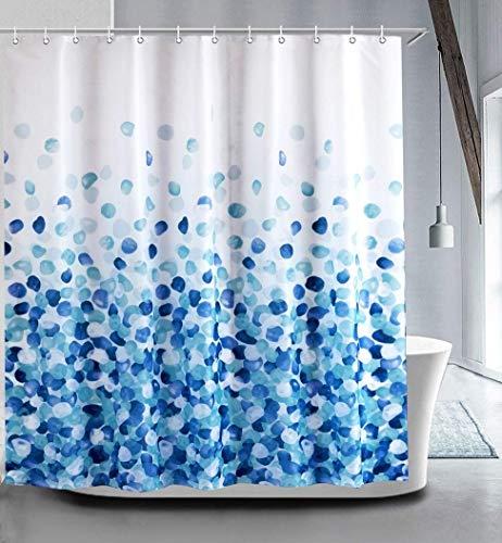 GreeSuit Cortina Baño Antimoho Tejido Cortina de Ducha Liner Baño Decorativo Poliéster Impermeable con 12 Ganchos Resistente al Moho Máquina Lavable 180cm x 180cm (Pétalos Azules)