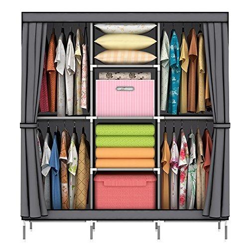 OUMYJIA 69 inches Non-Woven Fabric Portable Closet Wardrobe Organizer Storage, 51L x 17.5W x 69H inches, Grey