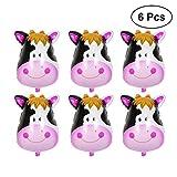 NUOLUX 6 unids globos lindos de la vaca, globos enormes de la hoja de la cabeza animal de la vaca para las fuentes de la decoración de la fiesta de cumpleaños