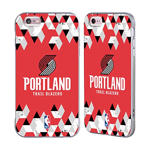 Officiële NBA Geometrisch marmer 2018/19 Portland Trail Blazers Zilveren Fender Case Compatibel voor Apple iPhone 6 Plus/iPhone 6s Plus