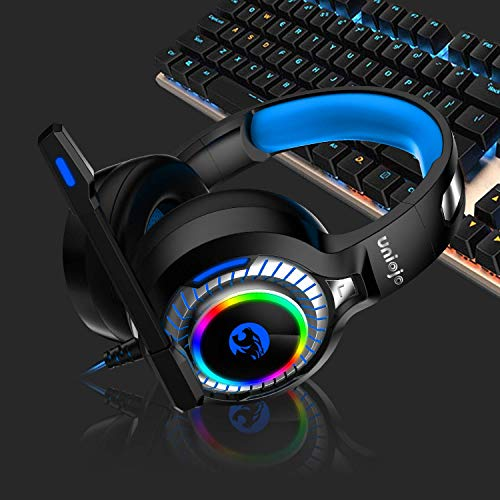 Gaming Headset,UNIOJO Stereo PS4 Headset,Xbox One Headset,Professional Wired Gaming Bass Over-Ear Headphones with Mic,Vibration Effect, LED Light, Noise Cancelling for PS4,Xbox One,PC,Laptop