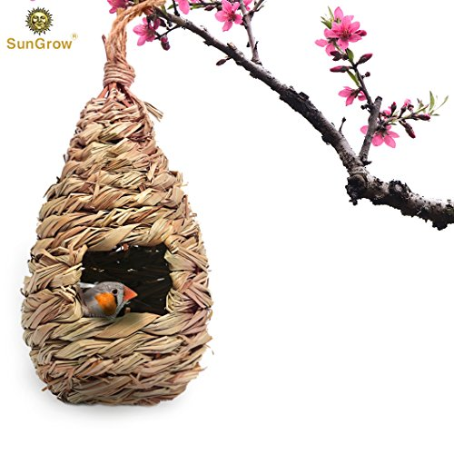 SunGrow Grass Bird Hut - Cozy Resting Place for Birds - Provides shelter from Cold Weather - Bird Hideaway from Predators - Hand-Woven Teardrop Shaped - 100% Natural Fiber - Ideal for Finch & Canary