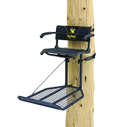 "Rivers Edge RE556, Big Foot TearTuff XL Lounger, Lever-Action Hang-On Tree Stand with TearTuff Flip-up Mesh Seat, Oversized 37.5"" x 24"" Platform, Arm/Foot/Back Rests, Black"