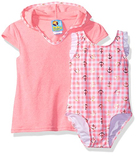 Baby Buns Toddler Girls' Anchor Away Swim Set Terry Cover up, Multi, 4T