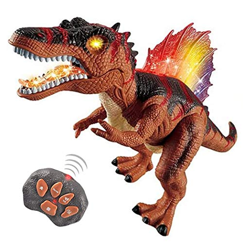 Remote Control Dinosaur for Kids Boys Girls, Electronic RC Toys Educational Walking Tyrannosaurus Rex with Lights and Sounds Powered by Rechargeable Battery, 360° Rotation Stunt (Brown)