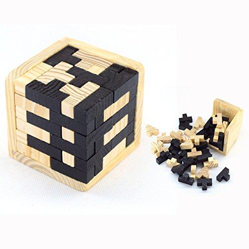 Cisixin Cubo 3D Rompecabezas de Madera Juego Puzzle, Puzzle para el Regalo de los Cabritos