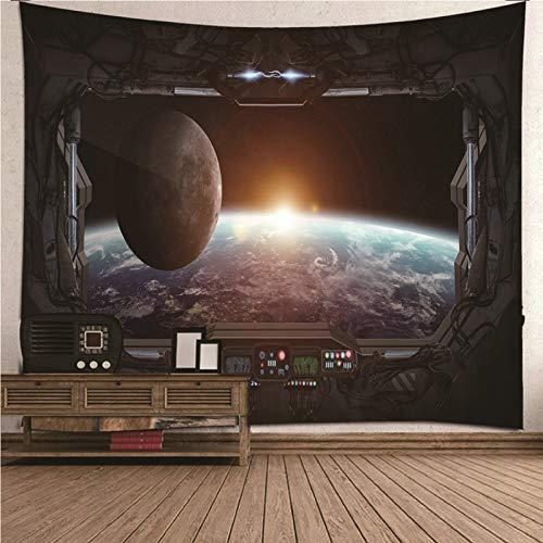 Aimsie Tapiz de pared, diseño de nave espacial y ventana, poliéster, 200 x 200 cm, color gris