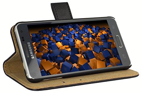 mumbi Echt Leder Bookstyle Case kompatibel mit Samsung Galaxy Alpha Hülle Leder Tasche Case Wallet, schwarz