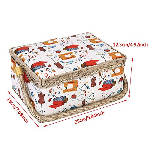 Best Review Of Xinwoer Storage Basket Sewing Basket,3Colors Craft Sewing Tool Needle Thread Basket F...