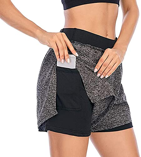 Pantalones cortos de correr para mujer, pantalones cortos elásticos Wasit atléticos para correr, entrenamiento 2 en 1, doble capa con bolsillo interior