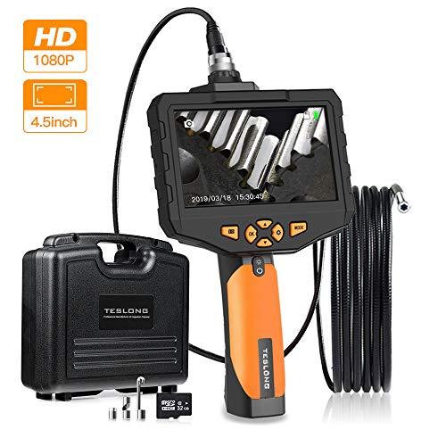 Teslong Inspektionskamera 4,5-Zoll-Farb-IPS-Monitor Mit 1080P HD Industrie IP67 wasserdichte Hand Endoskop Kamera Schlangenkabelkamera 5,5mm Durchmesser, 32GB TF Karte, Werkzeugkasten (9.8ft)