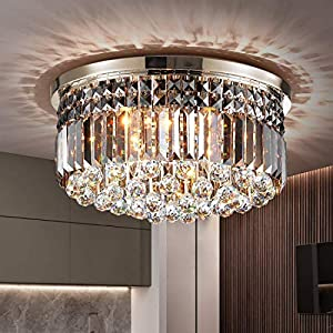 TZOE Crystal Chandelier, Modern Chandeliers,Flush Mount Chandelier,Ceiling Light Fixture,for Kitchen Foyer Dining Room Bathroom Bedroom Living Room ,9 E12 LED Bulbs Required Height 11 x Width 20