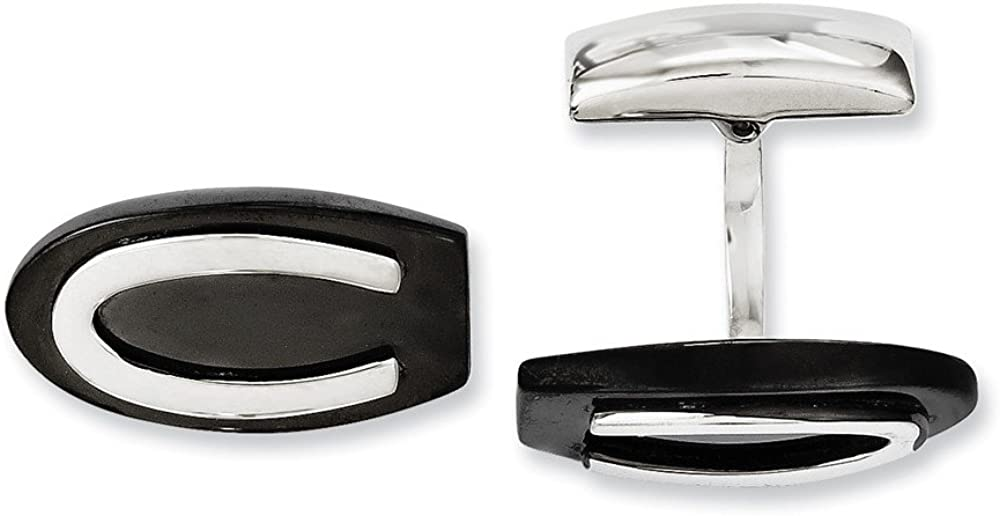 Stainless Steel Black IP-Plated Oval Cufflinks - 23mm x 12mm