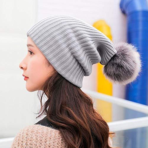 Gorro Beanie Sombrero Hat Moda Mujer S Invierno Cálido Crochet Beanie Cap De Conejo Pom Knit Skull Hat Hermosos Accesorios para El Cabello para Niñas Lady Gift-Grey