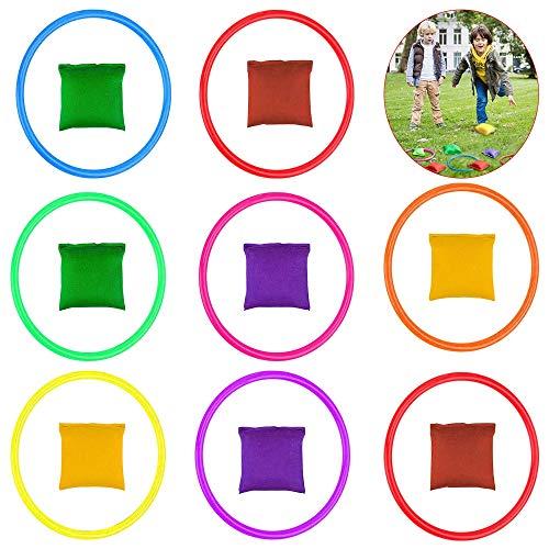 SNAGAROG 16 Nylon Sitzsäcke Ringwurf Spiel Sets Mini Sitzsäcke Toss Rings Spiele für Übungsspiele, Karneval,Spiele im Freien, Kinder Toss Ring Spiel