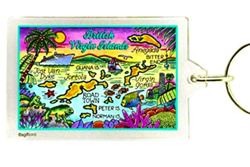 British Virgin Islands (Tortola) Map Acrylic Rectangular Souvenir Keychain 2.5' X 1.5'