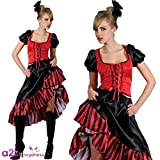 Adult Ladies Can Can Saloon Girl - Red Fancy Dress Costume (Large)