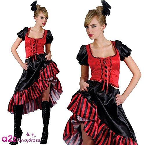 Damen Medium Saloon Girl Red Outfit Kostüm für Moulin Rouge Wilder Westen Kostüm