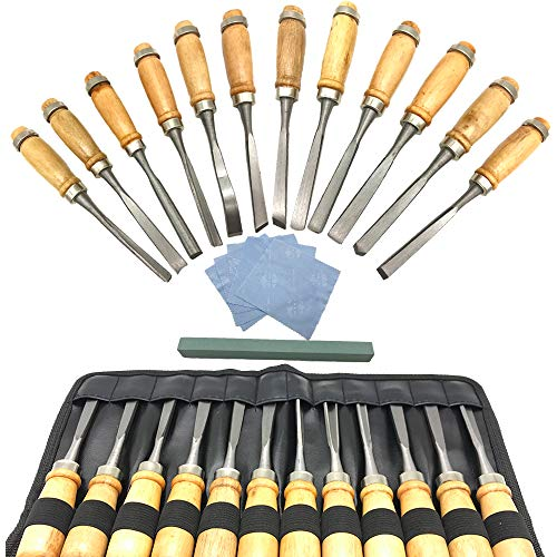Aisamco Schnitz- Holz- Messer-Set Meißel Set,18 Stück Sharp holzbearbeitungswerkzeuge mit, der Case – Holz-Tranchiermesser Kit perfekt für Erste Mal Holz formbare Anfänger