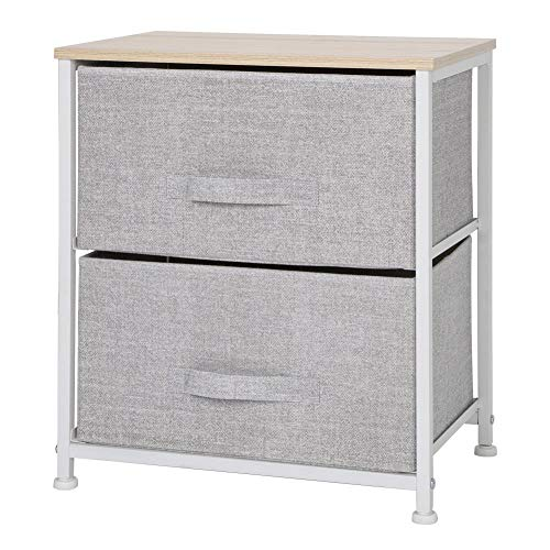 Bedside Table,Small Storage Cabinet Coffee Sofa Table Mini Drawer Tower Nightstand Side Table End Table Organizer Unit with Metal Frame 2 Drawers for Bedroom Playroom Living Room(Light Grey)