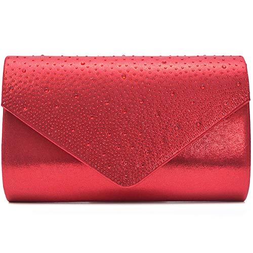 Vain Secrets Damen Abendtasche Clutch in Satin Strass Look vielen Farben (22 cm Lang - 13 cm Hoch - 6 cm Breit, Rot)