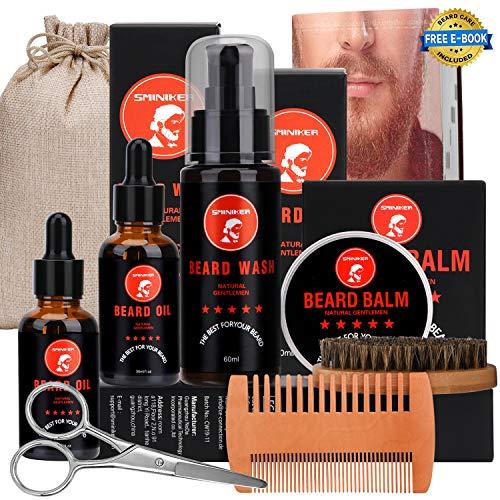 Beard Grooming Kit, 2 x Beard Oil, Beard Balm, Beard Shampoo,Beard Brush, Beard Comb, Beard & Mustache Scissors Beard Care Unique Gifts for Men Beard Growth & Trimming Kit