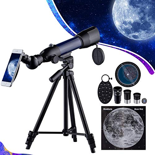 Telescopio para Niños HD 17-70X Astronómico refracción Telescopio para Principiantes Observer la Luna,Estrellas,de Aves, Regalo para niños