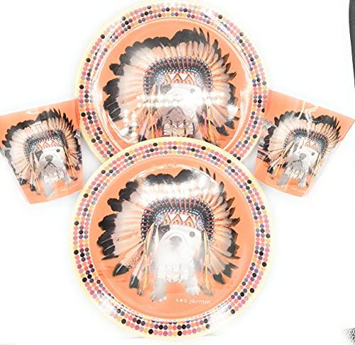 Udc Téo Jasmin- Juego de 2 platos de postre y 2 vasos de melamina con diseño de Apache y plato de 20 cm - Vaso de 8 cm de alto