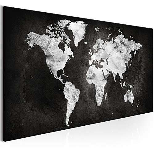 decomonkey Bilder Weltkarte 150x50 cm 1 Teilig Leinwandbilder Bild auf Leinwand Wandbild Kunstdruck Wanddeko Wand Wohnzimmer Wanddekoration Deko Welt Karte Kontinente Landkarte