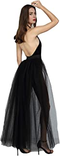 Women Mesh 4 Layers Long Tulle Skirt Floor Length Wedding Party Tutu Skirt