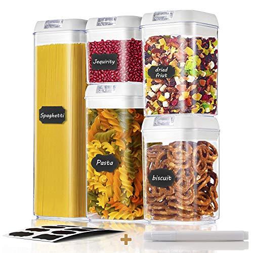 GuKKK Latas de Almacenamiento de Alimentos Juego, 5 Piezas Recipientes de Cereales para Almacenamiento, Latas de sin BPA, Jarras de Almacenamiento de Plástico con Tapa Hermética