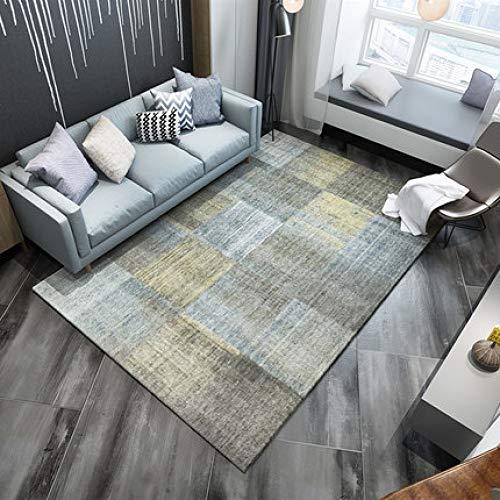GBFR Alfombras grandes de 200 x 300 cm de transformación geométrica de color amarillo azul | alfombra vintage abstracta | alfombra de pelo corto | decoración del hogar para sala de estar